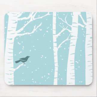 Christmas Birch Trees Mouse Mat