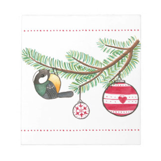 Christmas Bird and Bauble Notepad