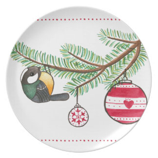 Christmas Bird and Bauble Plate