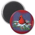 CHRISTMAS BIRD: CARDINAL: ART 6 CM ROUND MAGNET
