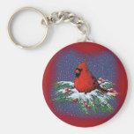 CHRISTMAS BIRD: CARDINAL: ART BASIC ROUND BUTTON KEY RING