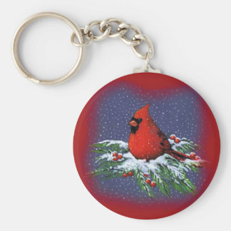 CHRISTMAS BIRD: CARDINAL: ART KEY RING