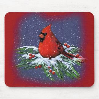 CHRISTMAS BIRD: CARDINAL: ART MOUSE MAT