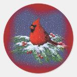 CHRISTMAS BIRD: CARDINAL: ART ROUND STICKER