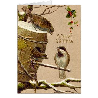 Christmas Bird Sparrow Birdhouse Holly Card