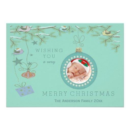 Christmas Birds and Baubles Holiday Photo Card
