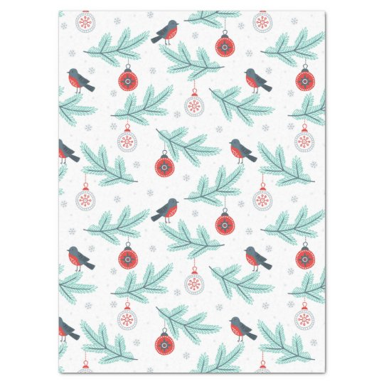 Christmas Birds & Balls Pattern Tissue Paper
