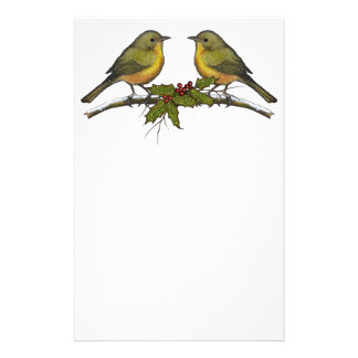 Christmas Birds, Face to Face, Holly, Original Art Personalized Stationery