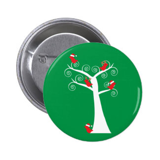 Christmas Birds in a Tree Button