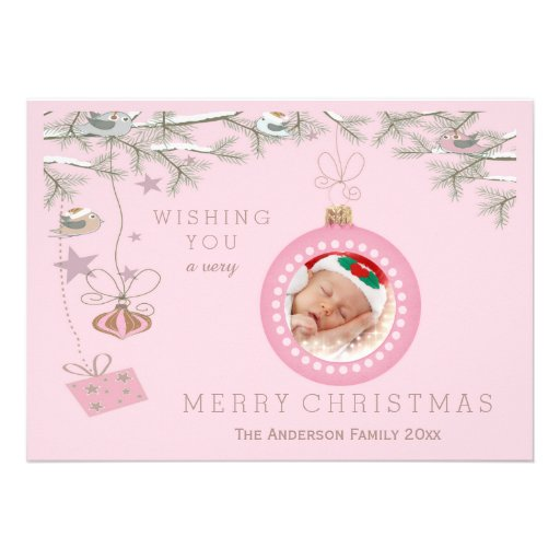 Christmas Birds Pink Baubles Holiday Photo Card