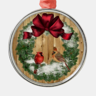 Christmas Birds Silver-Colored Round Decoration