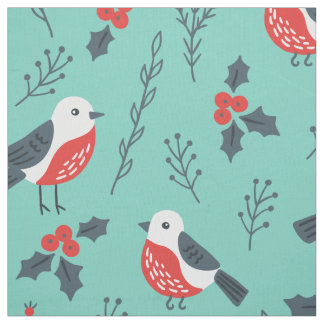 Christmas Birds & Trimmings Pattern Fabric