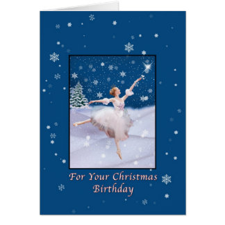 Christmas Birthday, Ballerina Dancing in Snow Card
