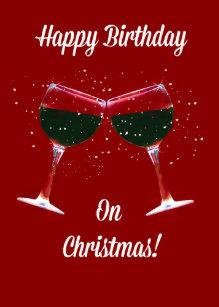 Christmas birthday cards invitations zazzle uk christmas birthday card toasting wine glasses bookmarktalkfo Images