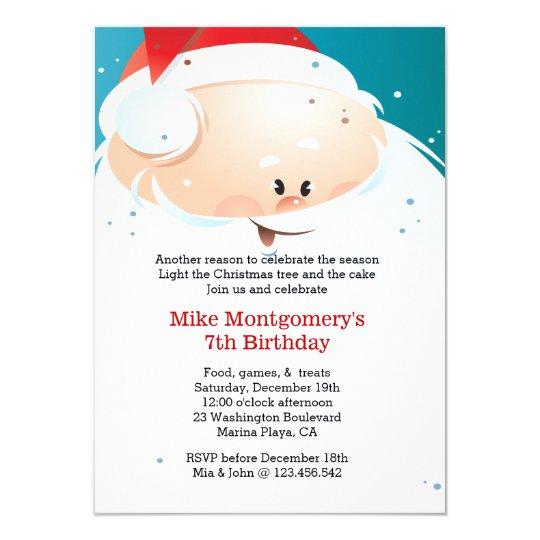 Christmas Birthday Party Invitation Santa
