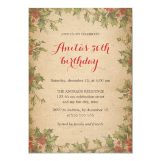 Christmas Birthday Party Vintage Holly Wreath 50th 5x7 Paper Invitation Card