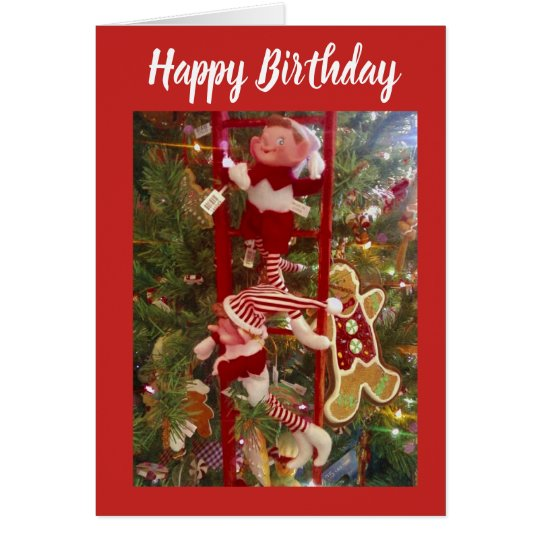 CHRISTMAS BIRTHDAY WISHES FROM FRIENDLY ELF CARD