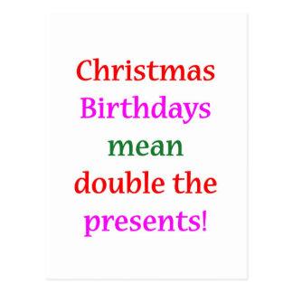 Christmas Birthdays Postcard