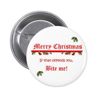 Christmas Bite Me 6 Cm Round Badge