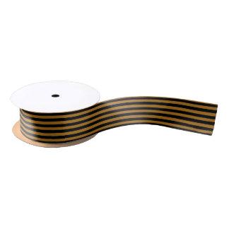 Christmas Black and Antique Matte Gold Stripe Satin Ribbon