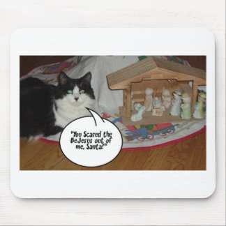 Christmas Black and White Cat Humor Mousepads