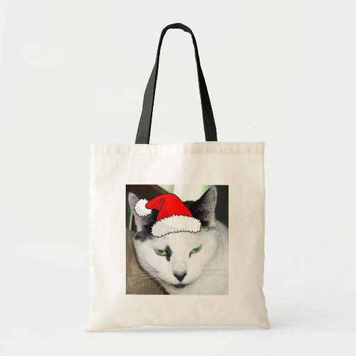 Christmas Black and White Kitten Tote Bags