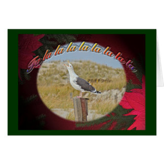 Christmas Black Backed Gull Christmas Caroling Card