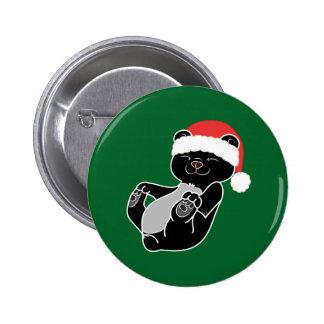 Christmas Black Bear with Red Santa Hat 6 Cm Round Badge