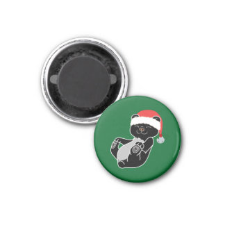 Christmas Black Bear with Santa Hat & Jingle Bell 3 Cm Round Magnet