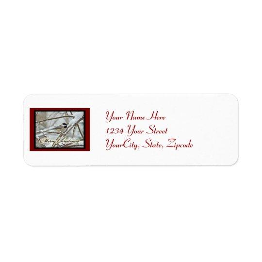 Christmas Black Capped Chickadee Label