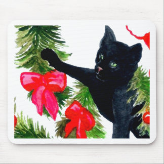 Christmas Black Cat Getting Into Christmas Tree Mousepads