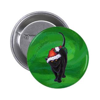 Christmas Black Cat on Green 6 Cm Round Badge