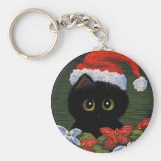 Christmas Black Cat Santa Claus Funny Creationarts Basic Round Button Key Ring