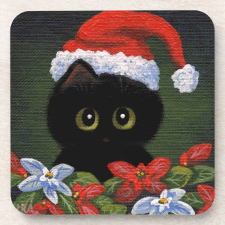 Christmas Black Cat Santa Claus Funny Creationarts Coasters