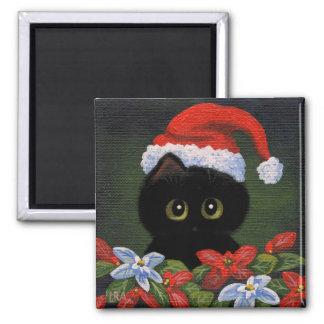 Christmas Black Cat Santa Claus Funny Creationarts Square Magnet