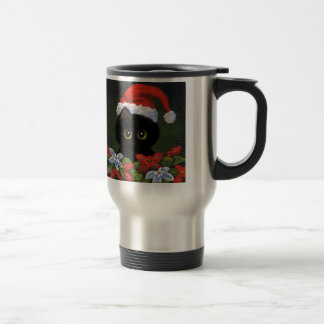 Christmas Black Cat Santa Claus Funny Creationarts Travel Mug
