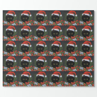 Christmas Black Cat Santa Claus Funny Creationarts Wrapping Paper