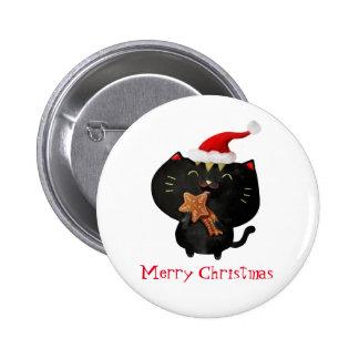 Christmas Black Cute Cat 6 Cm Round Badge