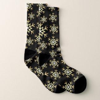 Christmas black gold snowflake pattern socks 1