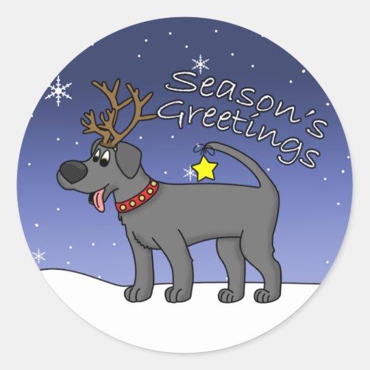 Christmas Black Lab Classic Round Sticker