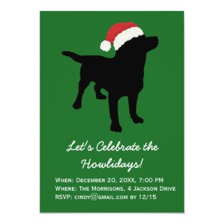 Christmas Black Lab Dog wearing Santa Claus Hat 13 Cm X 18 Cm Invitation Card