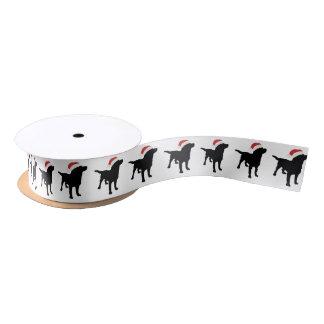 Christmas Black Lab Dog wearing Santa Claus Hat Satin Ribbon