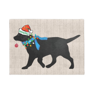Christmas Black Lab Naughty Tan Burlap Doormat