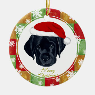Christmas Black Labrador Puppy Mosaic Christmas Ornament