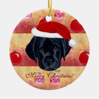Christmas Black Labrador Puppy Round Ceramic Decoration