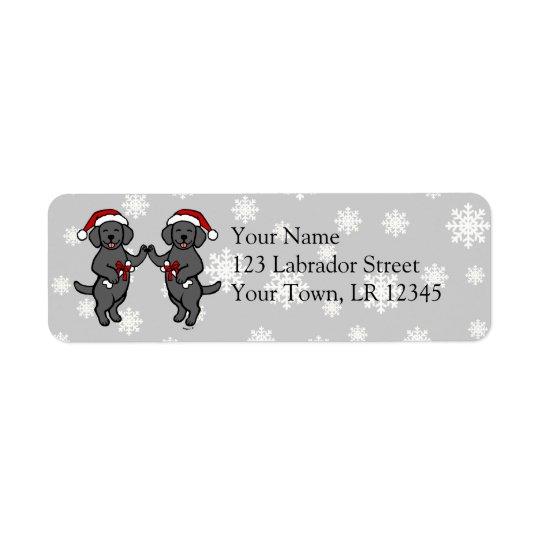 Christmas Black Labradors Cartoon Return Address Label