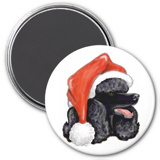 Christmas Black Poodle Magnet