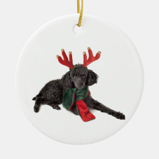 Christmas Black Toy Poodle Dog Dressed as Reindeer Christmas Ornament