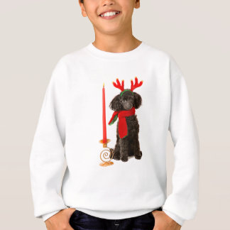 Christmas Black Toy Poodle Dog Dressed as Reindeer Sweatshirt