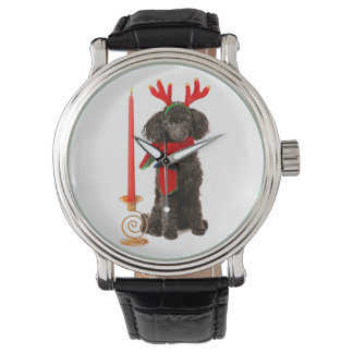 Christmas Black Toy Poodle Dog Dressed as Reindeer Watch